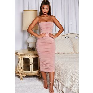 Oh Polly Blush Pink Ruched Midi Dress